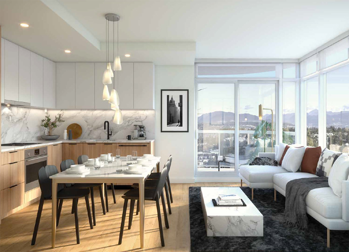 New Surrey Georgetown One kitchen and living room rendering