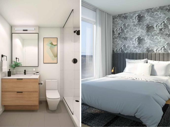 Georgetown Surrey Condo bathroom and bedroom