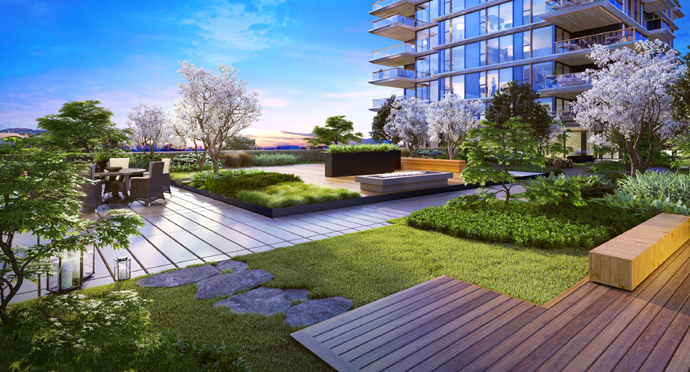 Outdoor terrace at the new Vancouver Landmark Condo Tower