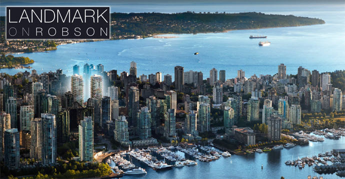 Rendering of the two towers at Landmark on Robson Street
